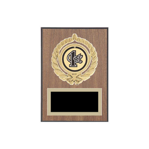 """5"""" x 7"""" 1st, 2nd, 3rd, 4th, 5th Place Plaque with gold background plate, colored engraving plate, gold open wreath medallion holder and 1st, 2nd, 3rd, 4th, 5th Place insert."""