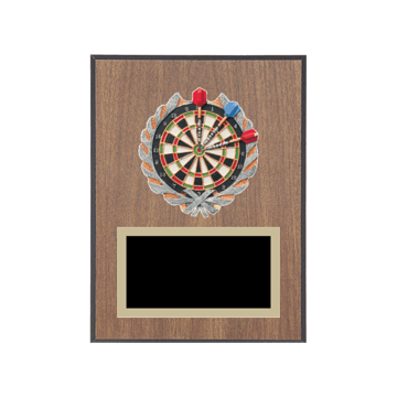 "6"" x 8"" Dart Plaque with gold background plate, colored engraving plate and full color 3D resin Dart medallion."