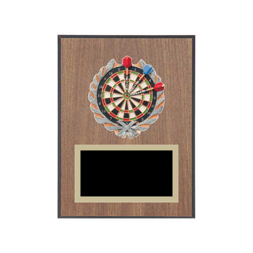 """6"""" x 8"""" Dart Plaque with gold background plate, colored engraving plate and full color 3D resin Dart medallion."""