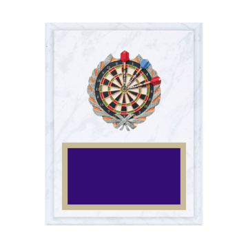 "7"" x 9"" Dart Plaque with gold background plate, colored engraving plate and full color 3D resin Dart medallion."