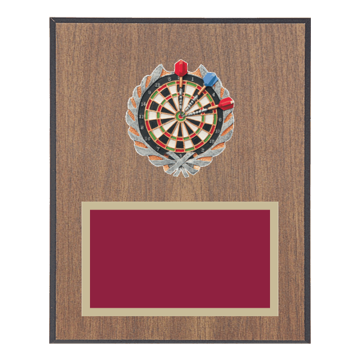 "8"" x 10"" Dart Plaque with gold background plate, colored engraving plate and full color 3D resin Dart medallion."