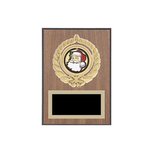 "5"" x 7"" Holiday Plaque with gold background plate, colored engraving plate, gold open wreath medallion holder and Holiday insert."