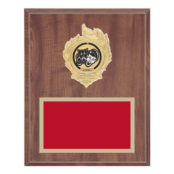 "8"" x 10"" Drama Plaque with gold background, colored engraving plate, gold flame medallion holder and Drama insert."