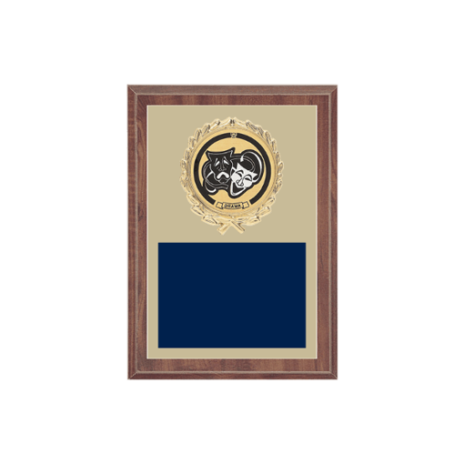 "5"" x 7"" Drama Plaque with gold background plate, colored engraving plate, gold wreath medallion and Drama insert."