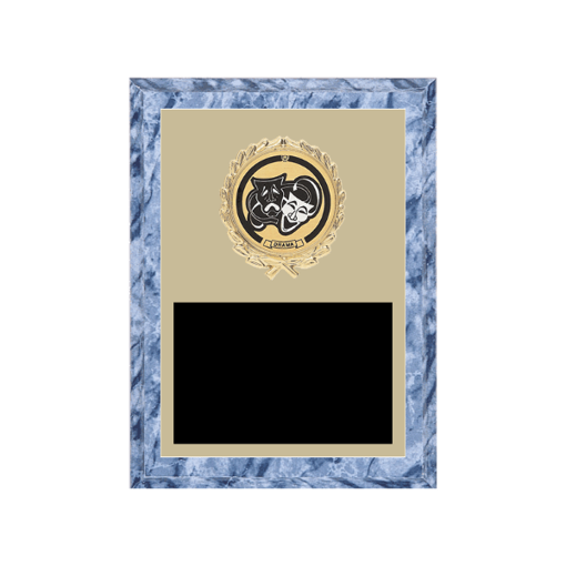 "6"" x 8"" Drama Plaque with gold background plate, colored engraving plate, gold wreath medallion and Drama insert."