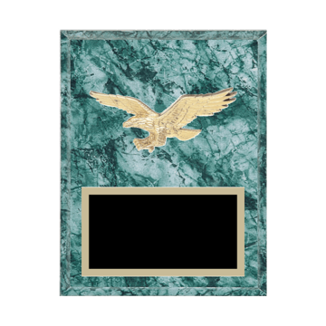 "7"" x 9"" Eagle Plaque with gold background plate, colored engraving plate and gold 3D Eagle medallion."
