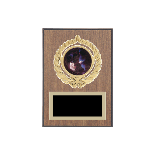 """5"""" x 7"""" Eagle Plaque with gold background plate, colored engraving plate, gold open wreath medallion holder and Eagle insert."""
