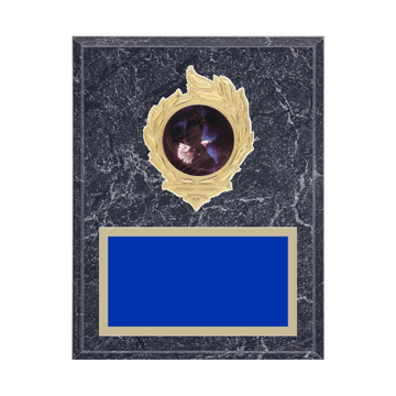 "7"" x 9"" Eagle Plaque with gold background, colored engraving plate, gold flame medallion holder and Eagle insert."