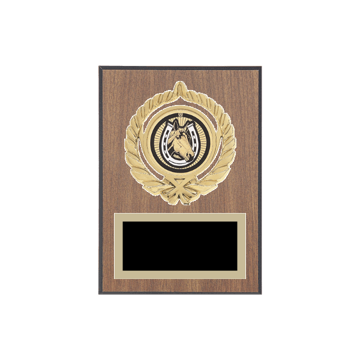 """5"""" x 7"""" Horses   Rodeo Plaque with gold background plate, colored engraving plate, gold open wreath medallion holder and Horses   Rodeo insert."""