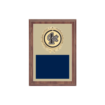 "5"" x 7"" 1st, 2nd, 3rd, 4th, 5th Place Plaque with gold background plate, colored engraving plate, gold wreath medallion and 1st, 2nd, 3rd, 4th, 5th Place insert."