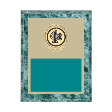 """7"""" x 9"""" 1st, 2nd, 3rd, 4th, 5th Place Plaque with gold background plate, colored engraving plate, gold wreath medallion and 1st, 2nd, 3rd, 4th, 5th Place insert."""