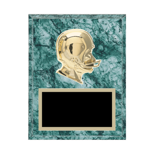 "7"" x 9"" Football Plaque with gold background plate, colored engraving plate and gold 3D Football medallion."