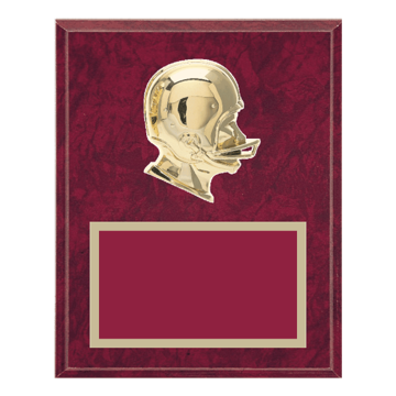 "8"" x 10"" Football Plaque with gold background plate, colored engraving plate and gold 3D Football medallion."