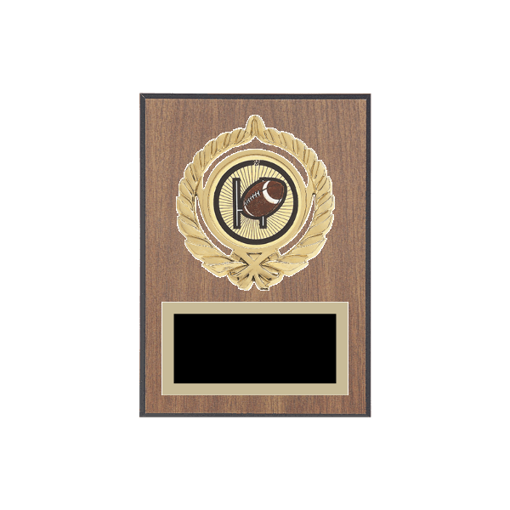 """5"""" x 7"""" Football Plaque with gold background plate, colored engraving plate, gold open wreath medallion holder and Football insert."""
