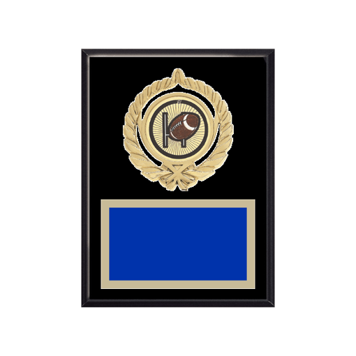 "6"" x 8"" Football Plaque with gold background plate, colored engraving plate, gold open wreath medallion holder and Football insert."