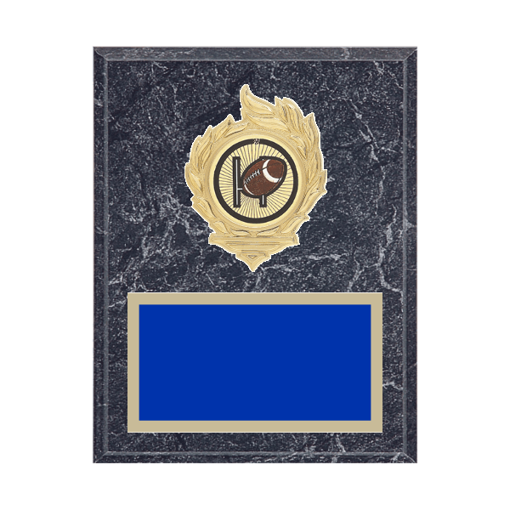 "7"" x 9"" Football Plaque with gold background, colored engraving plate, gold flame medallion holder and Football insert."