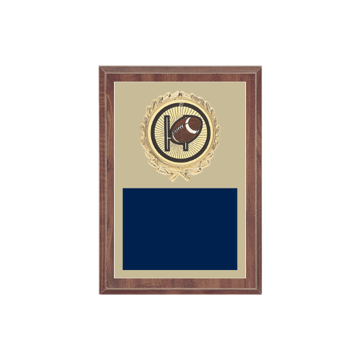"5"" x 7"" Football Plaque with gold background plate, colored engraving plate, gold wreath medallion and Football insert."