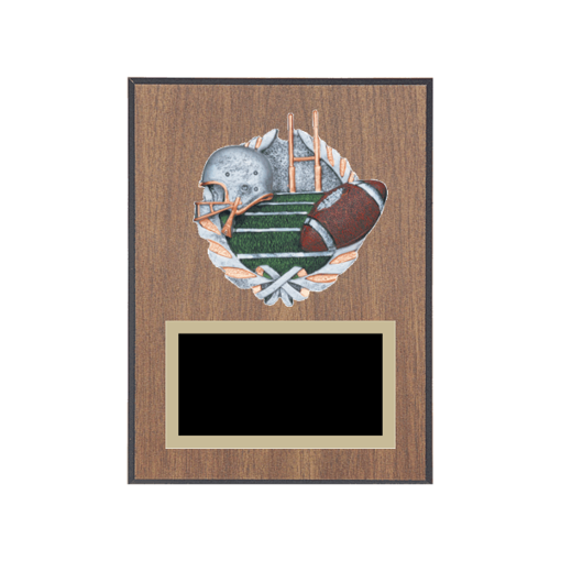"""6"""" x 8"""" Football Plaque with gold background plate, colored engraving plate and full color 3D resin Football medallion."""