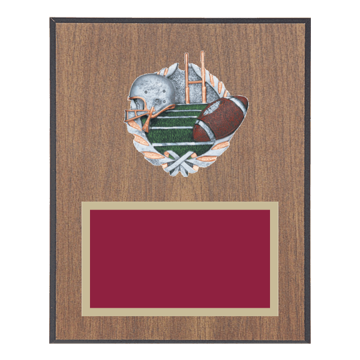 "8"" x 10"" Football Plaque with gold background plate, colored engraving plate and full color 3D resin Football medallion."