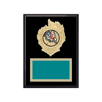 """6"""" x 8"""" Hockey Plaque with gold background, colored engraving plate, gold flame medallion holder and Hockey insert."""