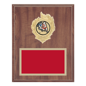 "8"" x 10"" Hockey Plaque with gold background, colored engraving plate, gold flame medallion holder and Hockey insert."