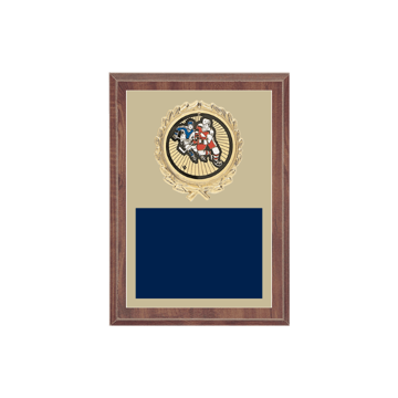 "5"" x 7"" Hockey Plaque with gold background plate, colored engraving plate, gold wreath medallion and Hockey insert."