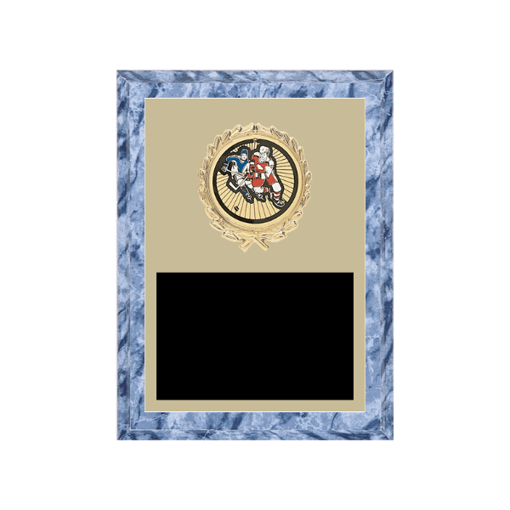 """6"""" x 8"""" Hockey Plaque with gold background plate, colored engraving plate, gold wreath medallion and Hockey insert."""