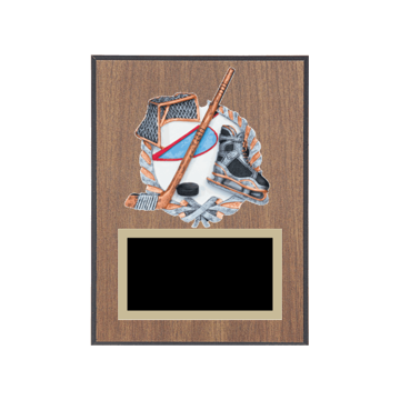 """6"""" x 8"""" Hockey Plaque with gold background plate, colored engraving plate and full color 3D resin Hockey medallion."""