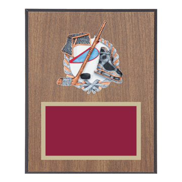 """8"""" x 10"""" Hockey Plaque with gold background plate, colored engraving plate and full color 3D resin Hockey medallion."""