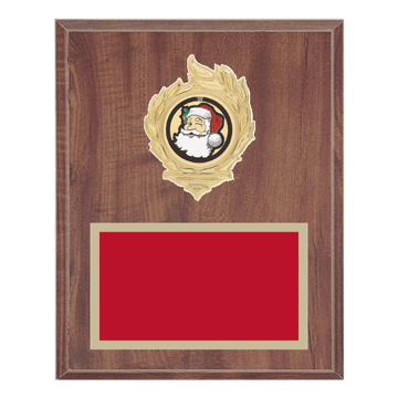 "8"" x 10"" Holiday Plaque with gold background, colored engraving plate, gold flame medallion holder and Holiday insert."