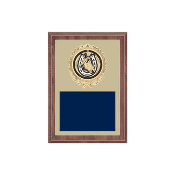 """5"""" x 7"""" Horses   Rodeo Plaque with gold background plate, colored engraving plate, gold wreath medallion and Horses   Rodeo insert."""