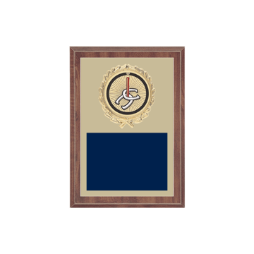 "5"" x 7"" Horseshoe Plaque with gold background plate, colored engraving plate, gold wreath medallion and Horseshoe insert."