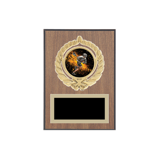 """5"""" x 7"""" Lacrosse Plaque with gold background plate, colored engraving plate, gold open wreath medallion holder and Lacrosse insert."""