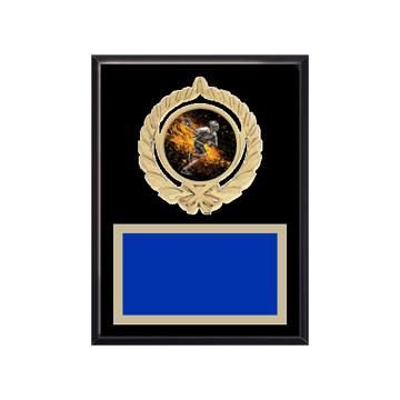 "6"" x 8"" Lacrosse Plaque with gold background plate, colored engraving plate, gold open wreath medallion holder and Lacrosse insert."