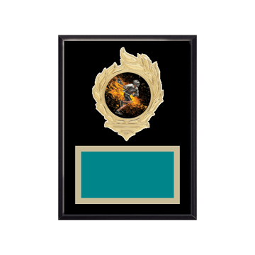 """6"""" x 8"""" Lacrosse Plaque with gold background, colored engraving plate, gold flame medallion holder and Lacrosse insert."""