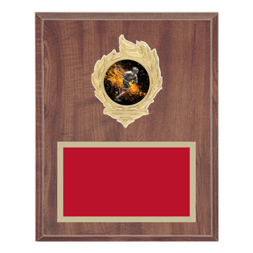 "8"" x 10"" Lacrosse Plaque with gold background, colored engraving plate, gold flame medallion holder and Lacrosse insert."