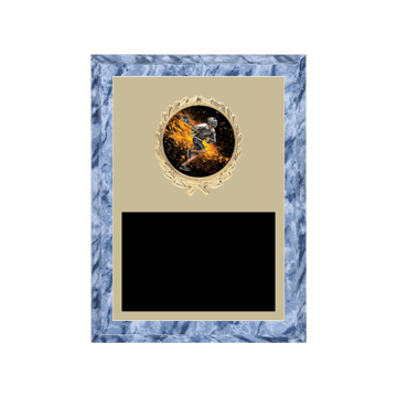 "6"" x 8"" Lacrosse Plaque with gold background plate, colored engraving plate, gold wreath medallion and Lacrosse insert."