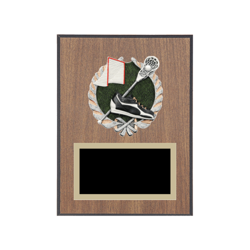 "6"" x 8"" Lacrosse Plaque with gold background plate, colored engraving plate and full color 3D resin Lacrosse medallion."