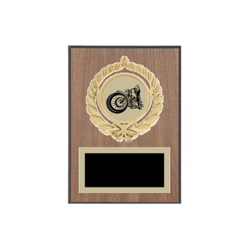 "5"" x 7"" Motorcycle Riding Plaque with gold background plate, colored engraving plate, gold open wreath medallion holder and Motorcycle Riding insert."