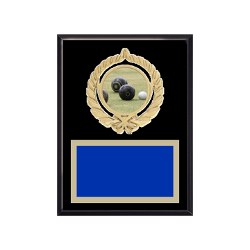 "6"" x 8"" Lawn Bowling Plaque with gold background plate, colored engraving plate, gold open wreath medallion holder and Lawn Bowling insert."