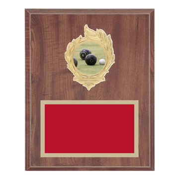"8"" x 10"" Lawn Bowling Plaque with gold background, colored engraving plate, gold flame medallion holder and Lawn Bowling insert."