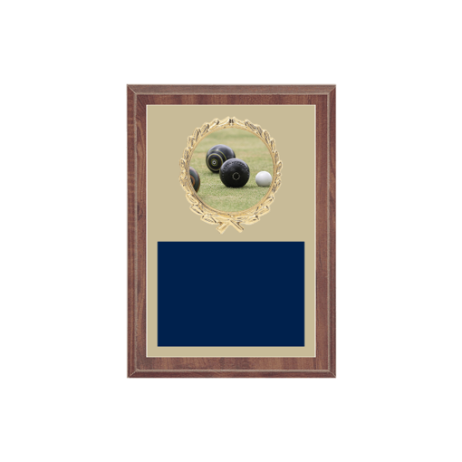 "5"" x 7"" Lawn Bowling Plaque with gold background plate, colored engraving plate, gold wreath medallion and Lawn Bowling insert."