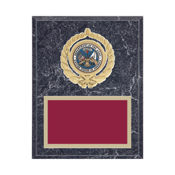 "7"" x 9"" Military Plaque with gold background plate, colored engraving plate, gold open wreath medallion holder and Military insert."