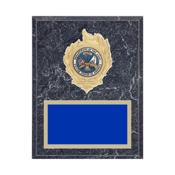 "7"" x 9"" Military Plaque with gold background, colored engraving plate, gold flame medallion holder and Military insert."