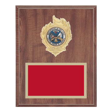 "8"" x 10"" Military Plaque with gold background, colored engraving plate, gold flame medallion holder and Military insert."