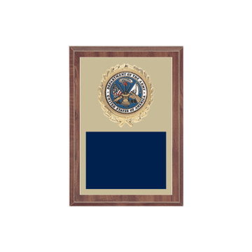 "5"" x 7"" Military Plaque with gold background plate, colored engraving plate, gold wreath medallion and Military insert."