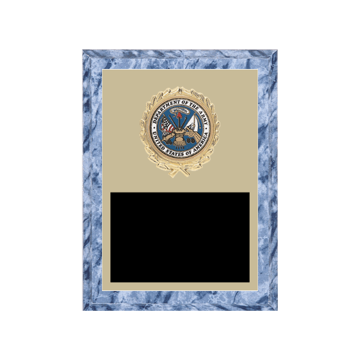 "6"" x 8"" Military Plaque with gold background plate, colored engraving plate, gold wreath medallion and Military insert."