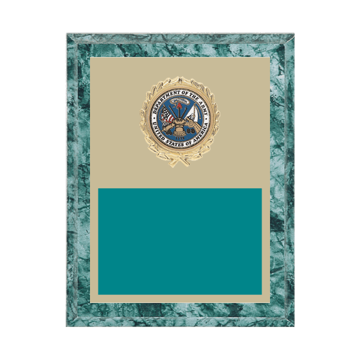"7"" x 9"" Military Plaque with gold background plate, colored engraving plate, gold wreath medallion and Military insert."