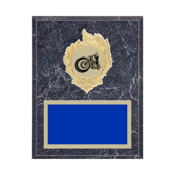 "7"" x 9"" Motorcycle Riding Plaque with gold background, colored engraving plate, gold flame medallion holder and Motorcycle Riding insert."