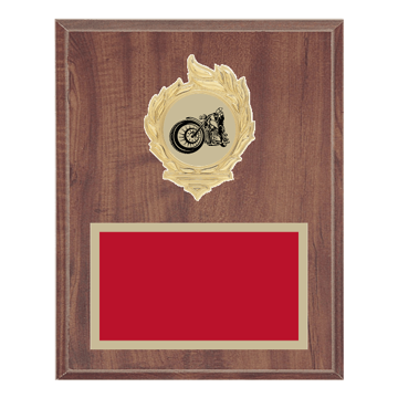 "8"" x 10"" Motorcycle Riding Plaque with gold background, colored engraving plate, gold flame medallion holder and Motorcycle Riding insert."